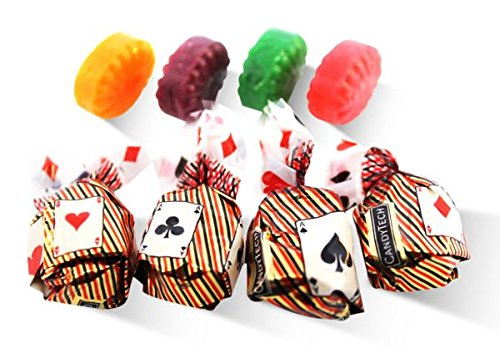 Hard candy wrapped in bags with playing card sticker, design, motif