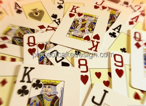 Edible Cake Topper - with playing cards motif