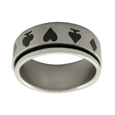 Stainless Steel mens ring with card symbols