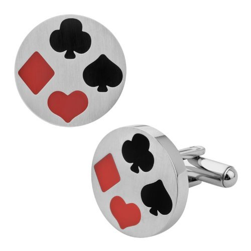 Stainless steel cufflinks with playing card suit motif poker and bridge