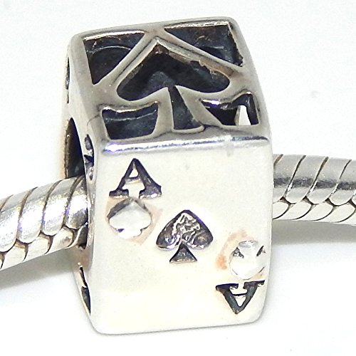 Sterling Silver Ace of Spades Pandora-style charm bead poker bridge