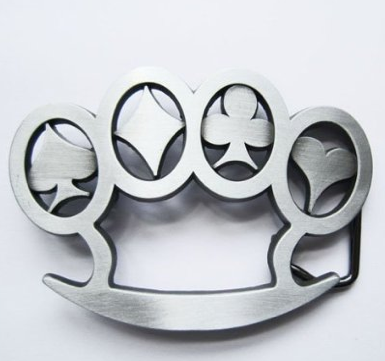 Steel Belt Buckle with card suit symbols