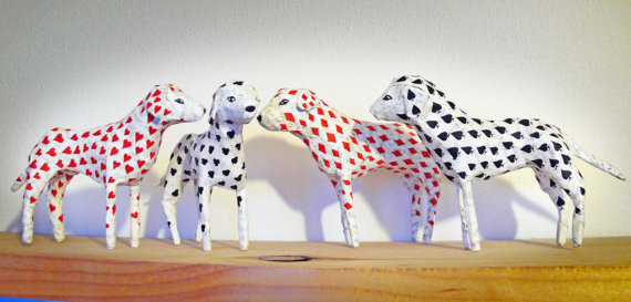 Dalmatian Paper Models - Set of 4 with Playing Card Pattern Spots - Red and Black Hearts, Diamonds, Spades and Clubs
