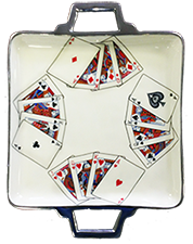 Enamel Serving Tray with card motif
