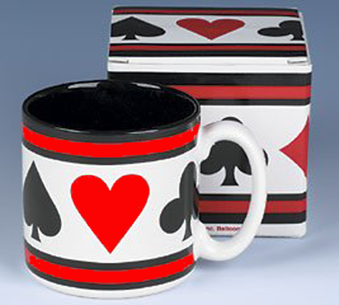 Boxed coffee mug with playing card suit motif