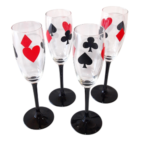 Card suit motif champagne glasses