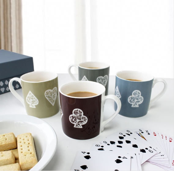 Bone china mugs with card motif club heart diamond spade