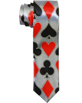 Outer Rebel Skinny Tie with Playing Card Suit Motif