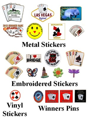 Stickers and Winners Pins for BridgePlayers, Poker Players, Card Players