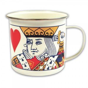 King of hearts and queen of hearts enamel mugs