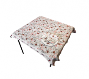 Card motif table cloth and napkins