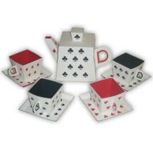 Mad Hatter Tea Set with playing card suit symbols
