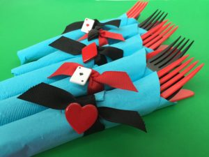 Card Party Flatware sets with napkins and napkin rings