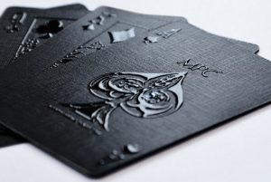 Black deck of playing cards as listed on Gifts and Supplies for Card Players