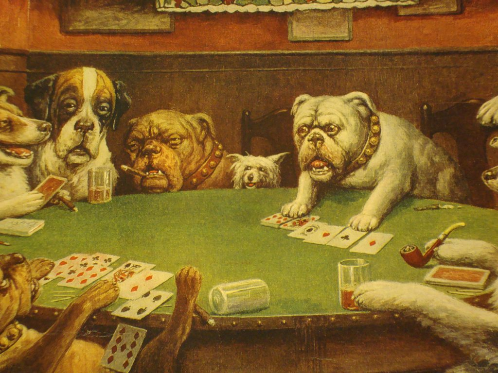 Dogs playing bridge