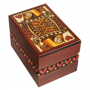 Queen Wood Playing Card Box