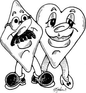 Diamond and heart characters, partnership