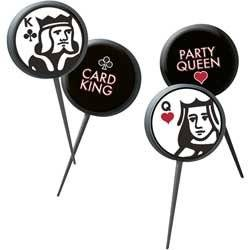 Cupcake decorations, picks - with card king and queen motif