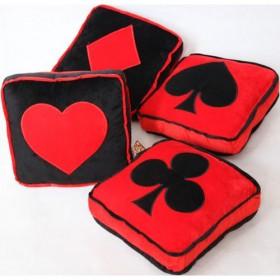 13.8 inch plush stuffed pillows with card motif club diamond heart spade