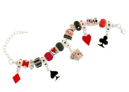 Beautiful Pandora-like charm bracelet wtih card motif club hearts diamonds spades poker bridge