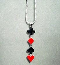 Necklace with Card Suit Pendant club diamond heart spade poker bridge