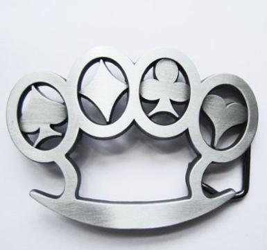 Steel Belt Buckle with card suit symbols
