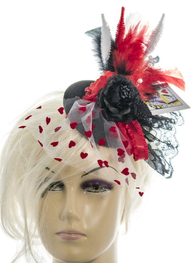 "Queen of hearts black flat felt base fascinator 5"" hair clip"