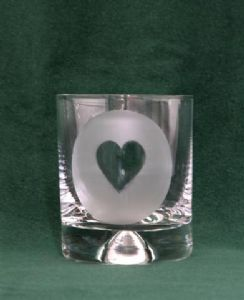 Beautiful hand etched glasses with card suit symbols
