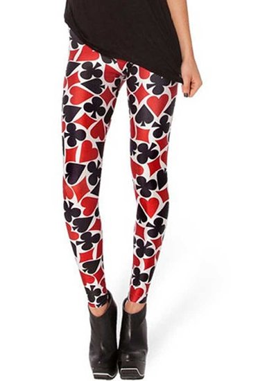 Playing Cards Hearts Diamonds Spades Clubs Trump Motif Print Leggings