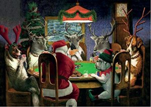 Santa Playing Poker Boxed Holiday Cards