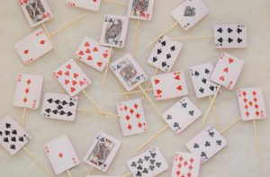 Mini playing card cupcake toppers