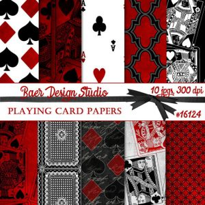 Digital Playing Card Motif Papers