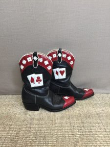 Poker themed cowboy boots as displayed on Gifts and Supplies for Card Players