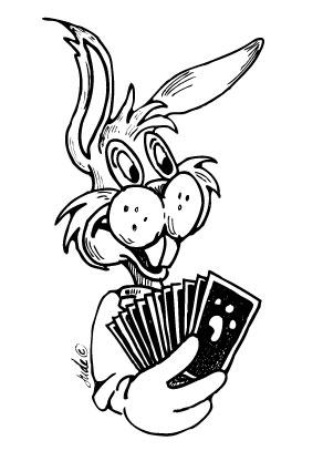 rabbit holding playing cards playing bridge