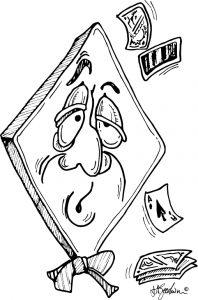 Diamond shaped bridge player, bow tie, exhaustsed