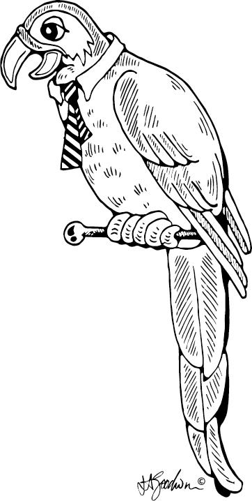 Parrot wearing a tie