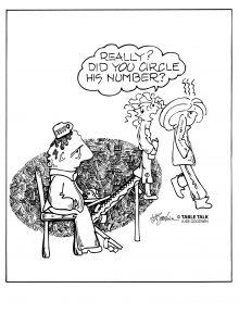 Man makes a psychic bid, woman dumps purse on his head