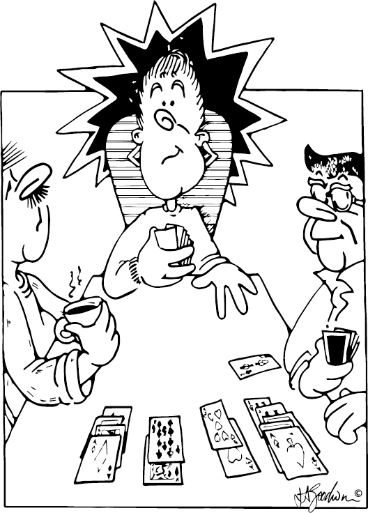 Declarer at the table, declarer looking at dummy