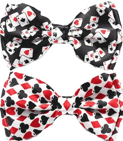 Bow Ties with playing card motif poker bridge