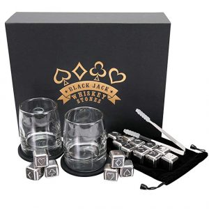 Whistkey Stones with card suit motif bridge poker