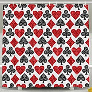 shower curtain with playing card motif