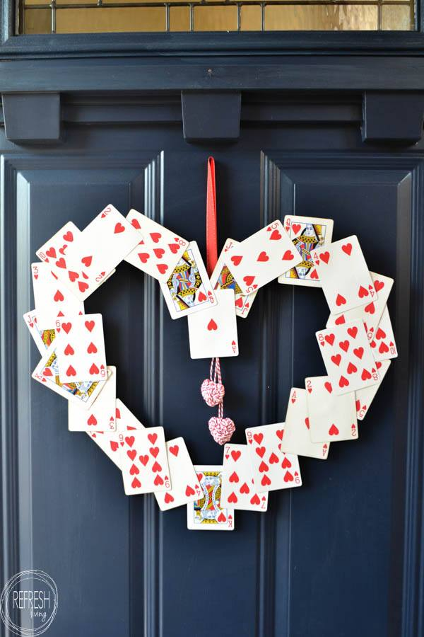 Hearts cards wreath
