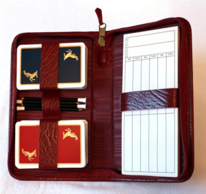 Personalised silk lined leather bridge sets from Richmond Bridge
