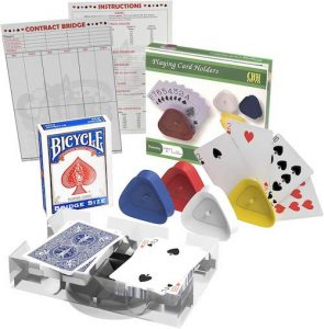 Bridge Card Game Gift Box Set with Authentic USA Made Bicycle Playing Cards, Four Card Holders and Score Pad with Game Instructions