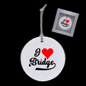 Baron Barclay I heart bridge ornament